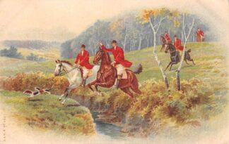 Ansichtkaart Fantasie Ruiters te paard met honden op jacht Dieren 1915 HC25706