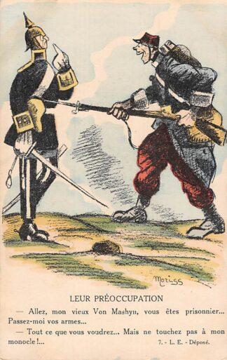 Ansichtkaart Frankrijk Militair WO1 1914-1918 Spotprent Cartoon Leur Preoccupation Von Mashyn France Europa HC25721