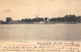 Ansichtkaart Schoonhoven van de overzijde van de Lek met stoomschup Reederij op de Lek 1905 Van Nooten 433 Binnenvaart schepen Scheepvaart HC25799