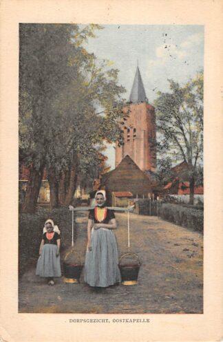 Ansichtkaart Oostkapelle Dorpsgezicht Melkmeisje in klederdracht 1917 HC25818