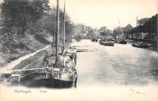 Ansichtkaart Harlingen Singel 1911 Binnenvaart schepen Scheepvaart HC25823