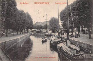 Ansichtkaart Heerenveen Kolkzijde Lindegracht 1910 Binnenvaart schepen Scheepvaart HC25824