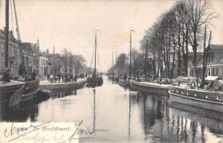 Ansichtkaart Assen De Hoofdvaart met binnenvaart schepen Scheepvaart 1906 HC25840
