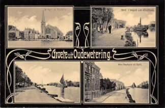 Ansichtkaart Oude Wetering Groete uit 1910 Gereformeerde Kerk en Pastorie Hotel 't wapen van Alkemade Hervormde Pastorie en Kerk HC25864