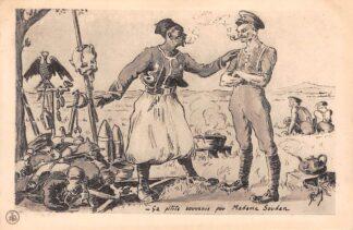 Ansichtkaart Frankrijk WO1 Militair Soedan Sudan Souvenirs Duitse soldaten aangbeden aan Soldaat Engeland France England Afrika Deutschland Cartoon Illustrator Boby HC25945