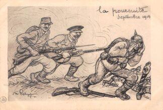 Ansichtkaart Frankrijk Militair WO1 La poursuite Septembre 1914 Cartoon Vluchtende Duitsers France Duitsland Deutschland Europa