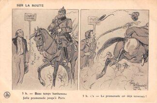 Ansichtkaart Frankrijk Duitsland Militair WO1 1914-1918 Sur la Route Kaiser Wilhelm op de vlucht Cartoon Deutschland France Europa HC25949