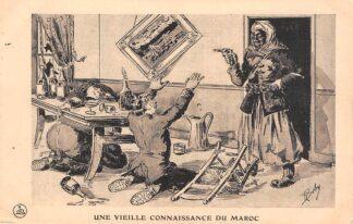 Ansichtkaart Frankrijk Militair WO1 1914-1918 Cartoon Une vieille Conaissance du Maroc Kaiser Wilhelm Duitsland Marokko France Deutschland Europa Illustrator Boby HC25951