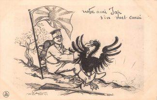 Ansichtkaart Frankrijk Militair WO1 1914-1918 Notre ami Jap .. Duitse adelaar Cartoon France Japan Nippon Duitsland Deutschland Europa Azië HC25953