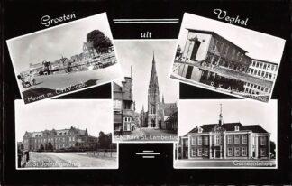 Ansichtkaart Veghel Groeten uit 1959 Haven CHV gebouw R.K. Ambachtsschool St. Joseph Gasthuis Kerk Gemeentehuis HC26007