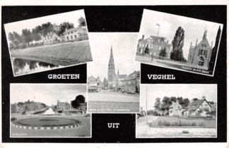 Ansichtkaart Veghel Groeten uit 1956 Parkstraat H. hartplein Markt en R.K. Kerk Pastorie en R.K. Kapel en Stationsstraat HC26012