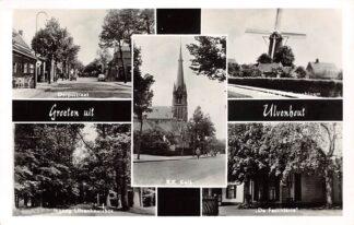Ansichtkaart Ulvenhout Groeten uit 1957 Dorpsstraat R.K. Kerk Molen De Korenbloem Ingang Bos De Fazanterie HC26014