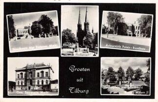 Ansichtkaart Tilburg Groeten uit 1955 Markt Standbeeld Zwijssen en Willem II Achterzijde Paleis Raadhuis Gem. Secretarie Heuvelplein HC26023