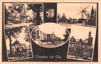 Ansichtkaart Oss Groeten uit Nieuwe Brouwerstraat met molen Raadhuis Willibrordus putje Molenstraat Muziektent HC26043