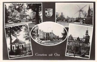 Ansichtkaart Oss Groeten uit 1950 Stadspark Willibrordus putje Molenstraat Stadhuis Molen Nieuwe Brouwerstraat 1950 HC26054