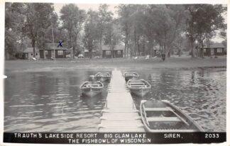 Ansichtkaart USA Siren Trauth's Lake Side Resort Big Clam Lake The Fishbowl of Wisconsin Fotokaart 1964 Noord-Amerika HC26074