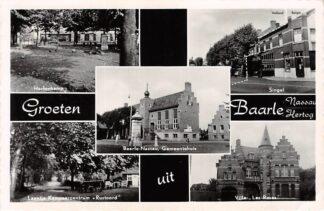 Ansichtkaart Baarle Nassau Baarle Hertog Hertenkamp Laantje Kampeercentrum Singel met grens Villa les Roses Gemeentehuis België Europa HC26141