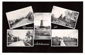 Ansichtkaart Achthuizen Groeten uit 1966 Tramdijk Galathesedijk Molen R.K. kerk Kruispunt Goeree-Overflakkee HC26148