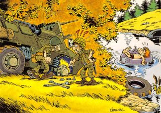 Ansichtkaart Militair Humor Cartoon Kind in water met binnenband legervoertuig HC26240