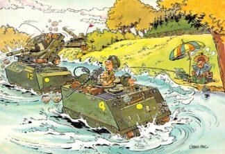 Ansichtkaart Militair Humor Cartoon Tanks en amfibiewagens storen visser HC26248