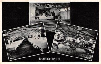 Ansichtkaart Nunspeet Post Vierhouten R.K. Vacantie Centrum Mosterdveen Kapel eetzaal Cantine Veluwe HC26337