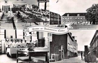Ansichtkaart Leiden Doelenkazerne Exercitieterrein Toegang Vakonderwijs Kokschool Manschappencantine 1954 Militair HC26343