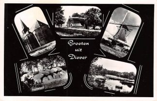 Ansichtkaart Diever Groeten uit 1965 Kerk Wapse Molen Hunnebed Vennetje Westerveld Drenthe HC26352