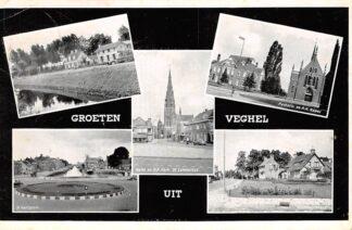 Ansichtkaart Veghel Groet uit 1957 H.H. Hartplein Parkstraat Markt en R.K. kerk Pastorie en R.K. Kapel en Stationsstraat HC26425