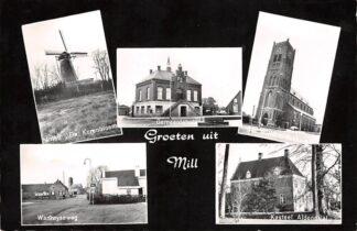 Ansichtkaart Mill Groeten uit 1963 Molen De Korenbloem Gemeentehuis Willibrorduskerk Wanroyseweg Kasteel Aldendriel HC26428