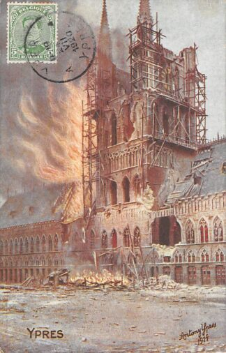 Ansichtkaart België Ieper Incendie du Beffroi 22 Novembre 1914 Illustrator Antony Ypres Europa HC26457