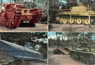 Ansichtkaart Overloon Nederlands Nationaal Oorlogs- en Verzetsmuseum Militair Churchill-tank Duitse Tank type Panther Duitse eenmans torpedoboot Valentin bruggenlegger 1966 HC26477