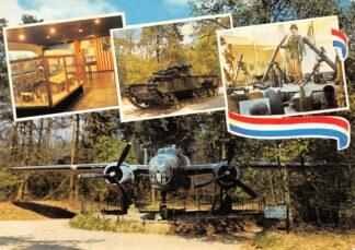 Ansichtkaart Overloon Nederlands Nationaal Oorlogs- en Verzetsmuseum Militair Doc. centrum-Maquette Concentartiekamp Ladelung Museumpark Churchill-Tank Wapenhal en Museumpark B25 Mitchell-Bommenwerper  HC26478
