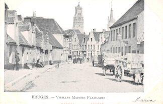 Ansichtkaart België Brugge Bruges 1900 Oude Vlaamse huizen Vieilles Maisons Flamandes Europa HC26576