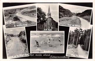 Ansichtkaart Schiermonnikoog Het mooie eiland Pr. Bernhardweg Watertoren N.H. Kerk Strandleven Door de duinen en bossen 1955 HC26603