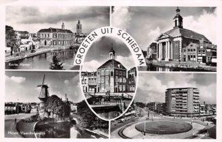 Ansichtkaart Schiedam Groeten uit 1956 Korte Haven Molen Zakkendragershuis R.K. Kerk Lange Haven Koemarkt HC26611