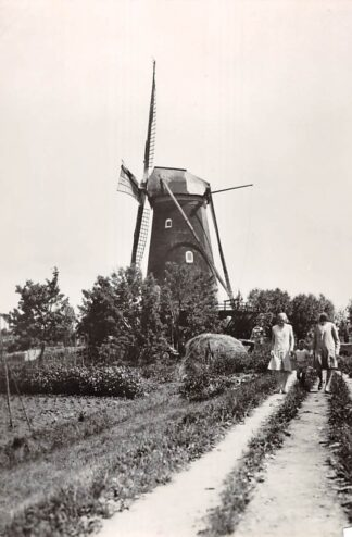 Ansichtkaart Zo was Dordrecht Molen Willem II a.d. Krommedijk gezien van de Dubbeldamseweg omstreeks 1930 (1966) HC26786