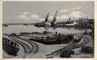 Ansichtkaart Harlingen Nieuwe Willemshaven Treinspoor Spoorwegen Scheepvaart Schepen 1941 HC26861