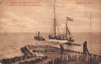 Ansichtkaart Bergen op Zoom Kotter van het Kreeftenpark Wilhelmina ten Kreeftenvangst Visserij Sleepboot Scheepvaart 1913 HC26862