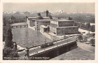 Ansichtkaart Duitsland München Isarpartie mit Blick auf d. Deutsche Museum Tram Fotokaart 1934 Deutschland Europa  HC26879