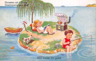 Ansichtkaart Oostvoorne aan Zee Groeten uit 't Gors Hier woont het geluk 1951 HC26938