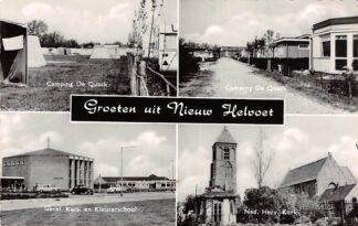Ansichtkaart Nieuw-Helvoet Camping De Quack Gereformeerde Kerk en Kleuterschool Ned. Hervormde kerk HC26958