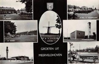 Ansichtkaart Meerveldhoven Groeten uit 1967 D' Ekker Molen Kerk Burg. v. Hoofflaan Veldhoven HC26999