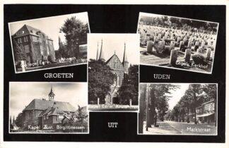 Ansichtkaart Uden Groeten uit 1961 College Kapel Markstraat Engels Kerkhof Begraafplaats HC27000