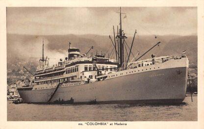 Ansichtkaart Amsterdam m.s. Columbia at Madeira Portugal N.V. Koninklijke Nederlandsche Stoomboot Maatschappij Scheepvaart Schepen Europa HC27158