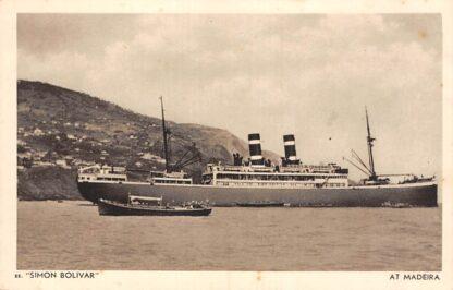 Ansichtkaart Amsterdam m.s. Simon Bolivar at Madeira Portugal N.V. Koninklijke Nederlandsche Stoomboot Maatschappij Scheepvaart Schepen Europa HC27160