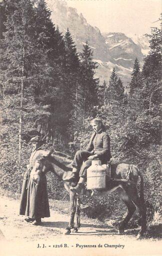 Ansichtkaart Zwitserland Paysannes de Champery Klederdracht Schweiz Suisse Switzerland Europa HC27221