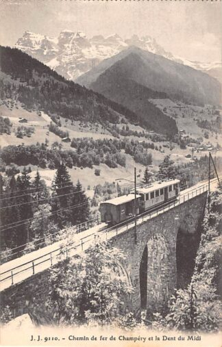 Ansichtkaart Zwitserland Chemin de fer de Champery et la Dent du Midi Spoorwegen Treinen Schweiz Suisse Switzerland Europa HC27222