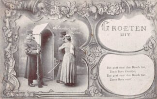 Ansichtkaart Militair Mobilisatie WO1 Groeten uit 1914-1918 Vrouw neemt afscheid van haar soldaat: Scheiden doet lijden en Dat gaat naar Den Bosch toe.. HC27289