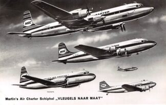 Ansichtkaart Luchtvaart Martin's Air Charter Schiphol Vleugels naar maat Reclame Vijf typen vliegtuigen HC27290