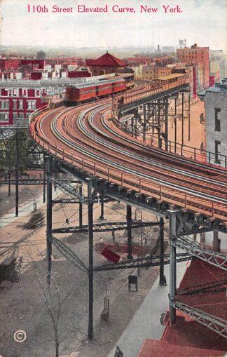 Ansichtkaart USA New York 110th Street Elevated Curve 1913 Railroad Train Treinen Spoorwegen Noord-Amerika HC27355